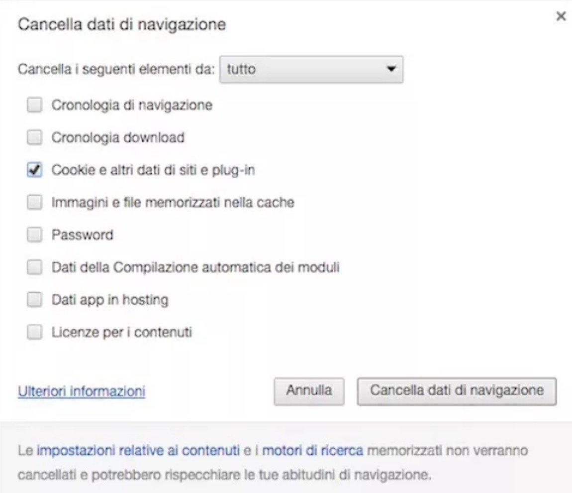 Come eliminare i cookie su Chrome da pc