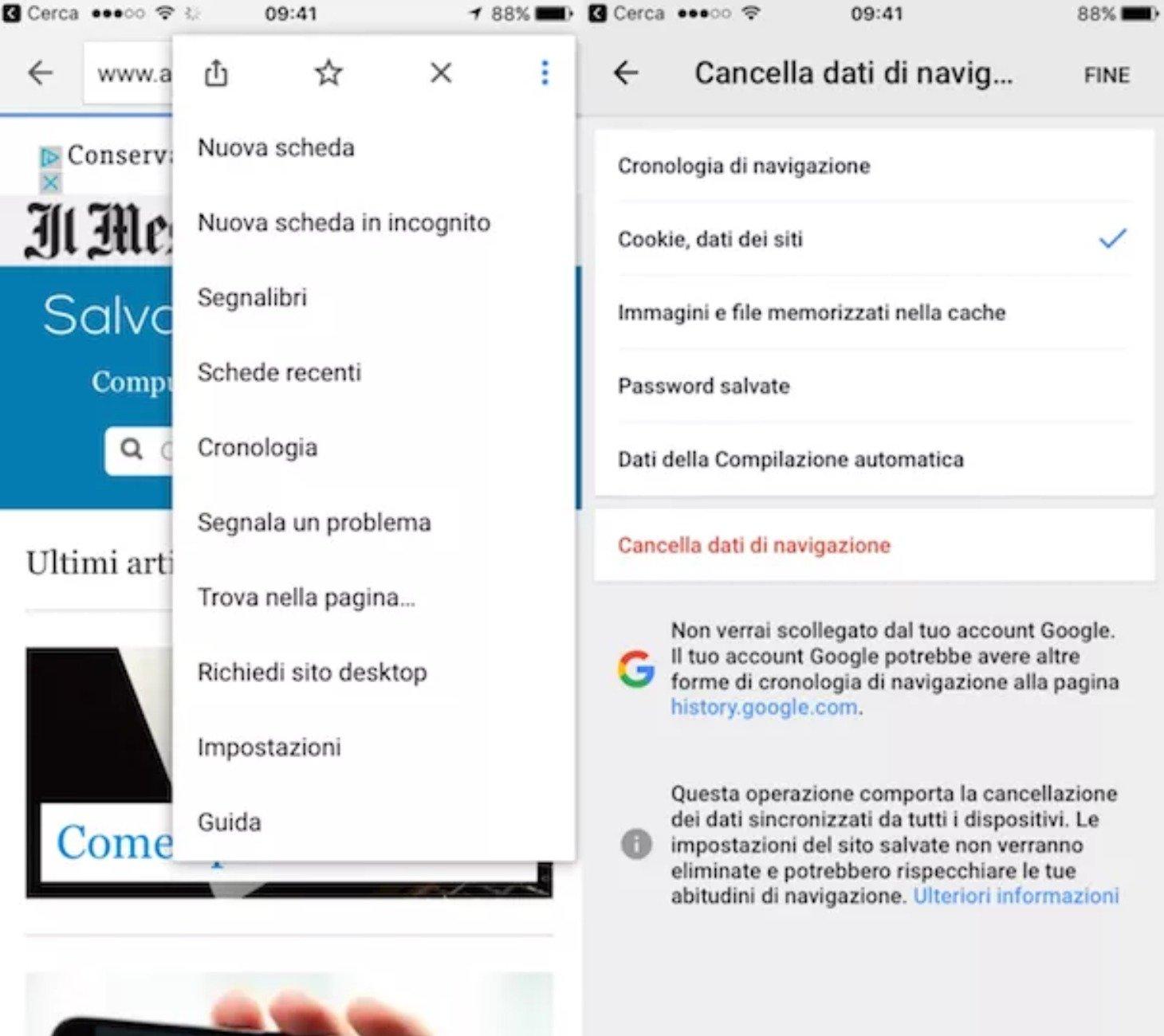 Come eliminare i cookies da Chrome su tablet e smartphone