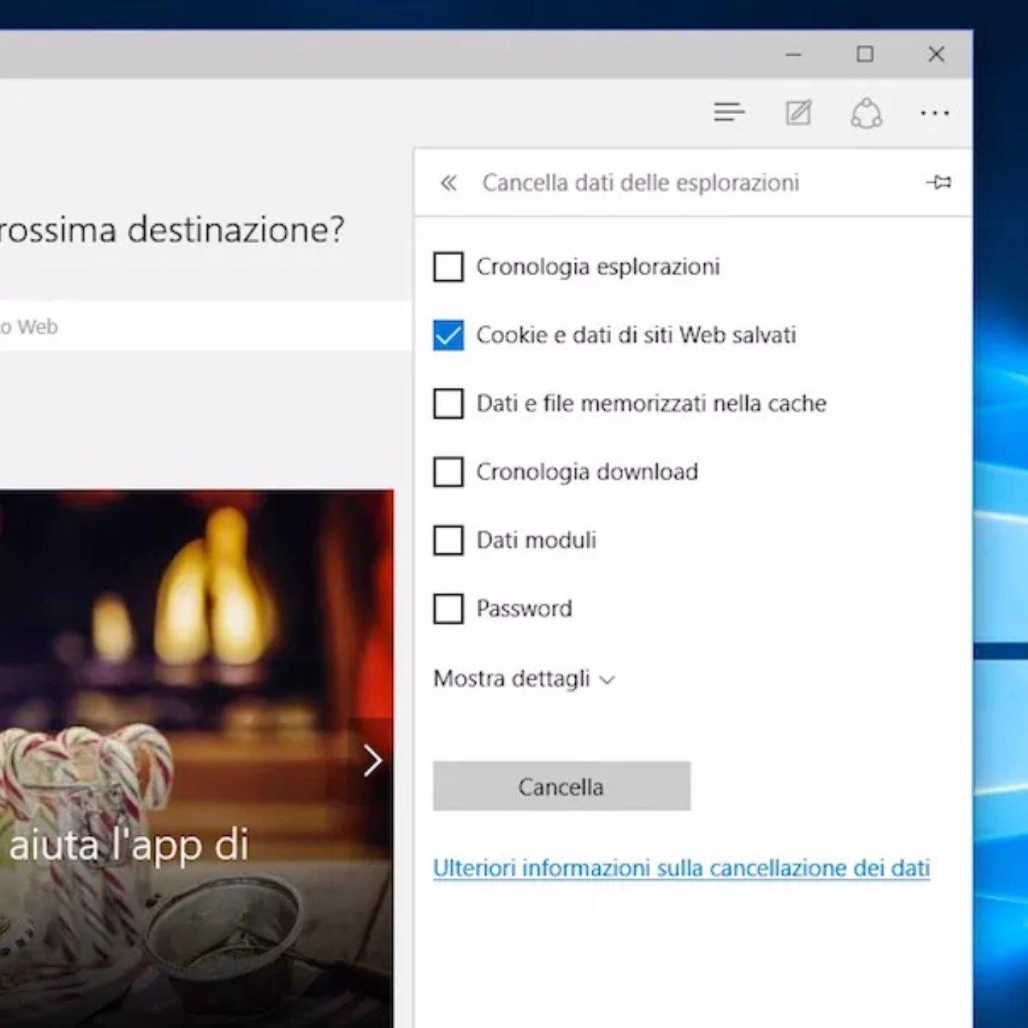 Come eliminare i cookie su Microsoft Edge su pc