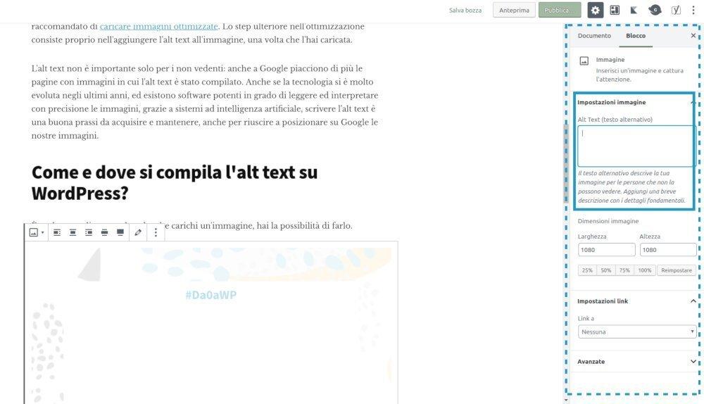 Come impostare l'alt text in WordPress. Occorre sfruttare l'apposito spazio nelle opzioni del blocco immagini sulla colonna di  destra.